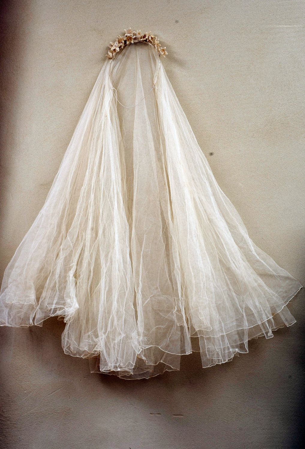 antique french ghostly tiara tulle veil wax lily flowers leaves
