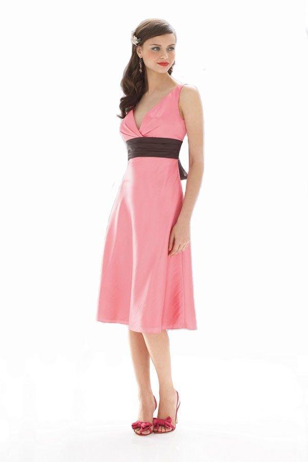 Pink V-neck Straps Sleeveless Knee-length Taffeta Sashes Bridesmaid ...
