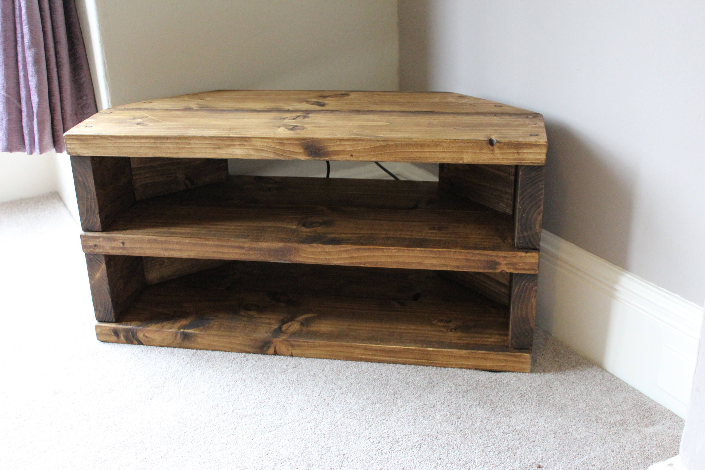 Rustic Handcrafted Chunky Reclaimed Corner Tv Unit Stand Cabinet
