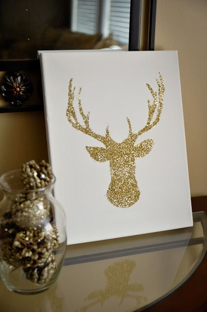 DIY Glitter Reindeer @Missy Streiff to go with your antlers above your mantle ;)
