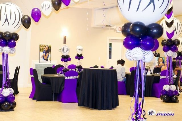 purple and silver sweet 16 decorations