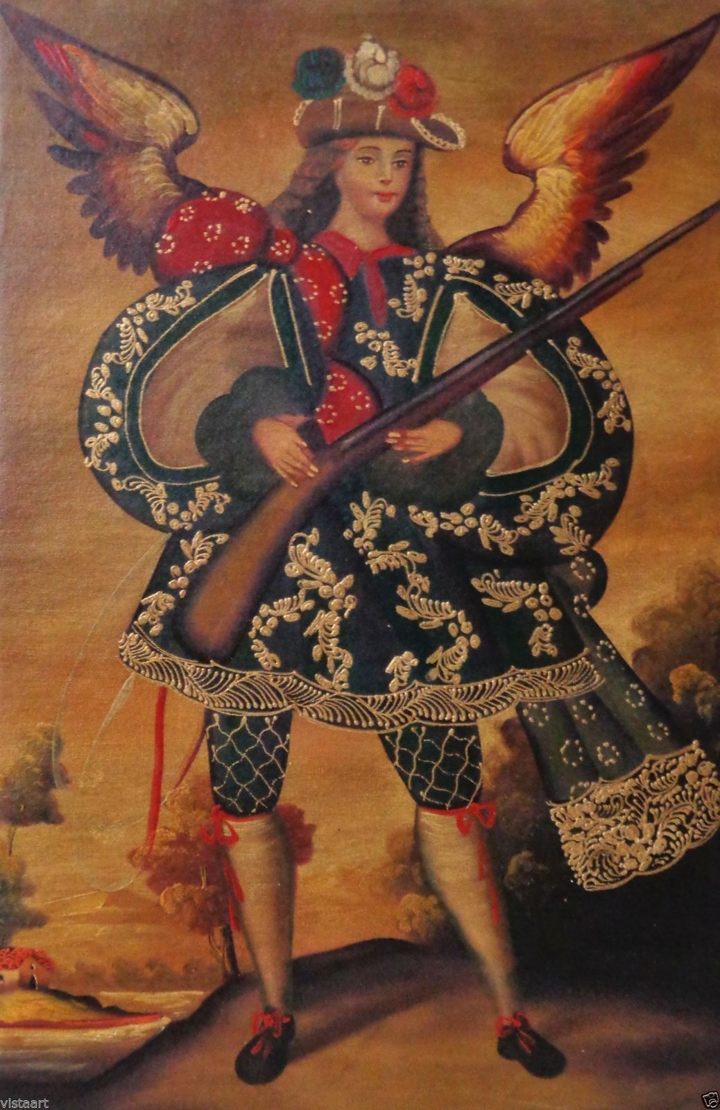 "Cuzco Oil Painting Peru Folk Art 15"" x 23"" Angel Holding Gun 