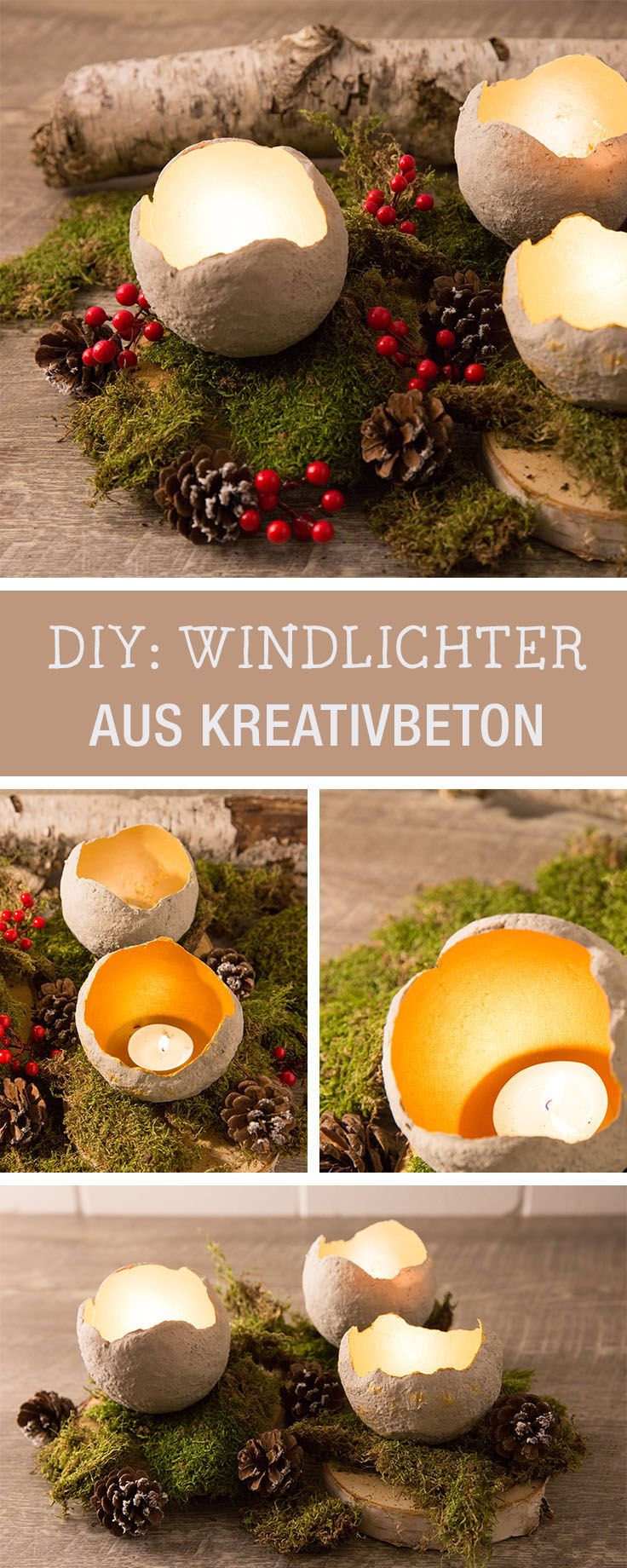 diy anleitung windlichter aus beton selber machen via pinterest windlicht. Black Bedroom Furniture Sets. Home Design Ideas