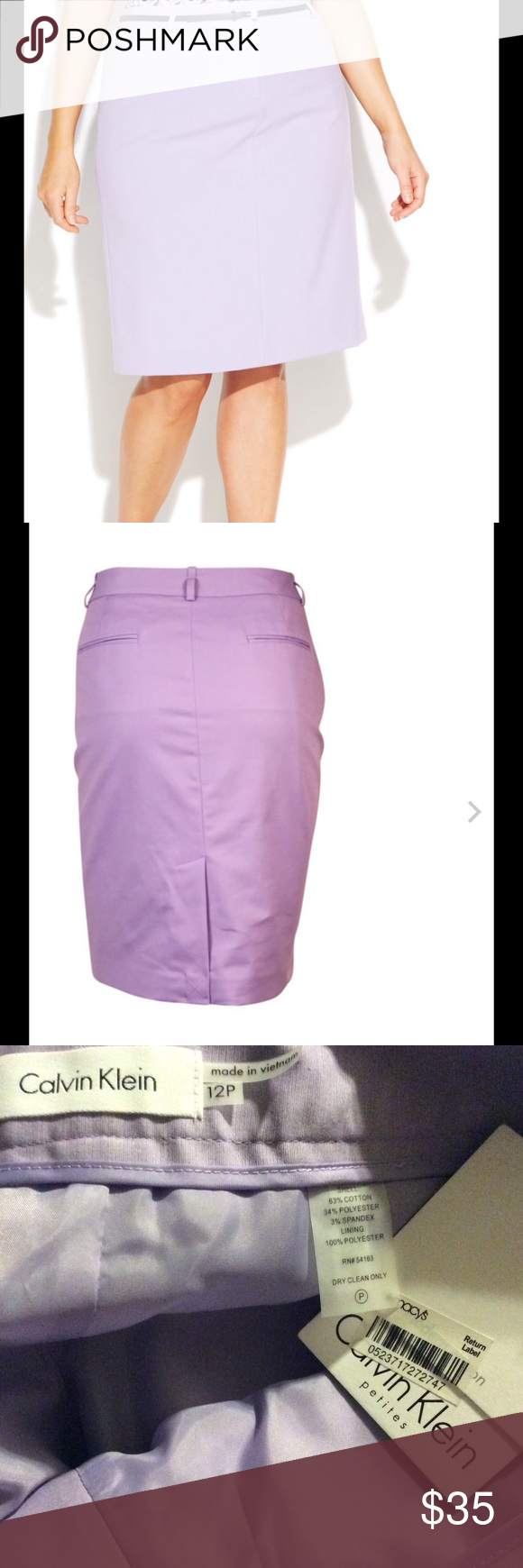 Calvin Klein NWT lined slim skirt. Sz 12P Calvin Klein slim skirt, lined. Flat pockets on back. No belt. New with tags. Size 12 petite. Calvin Klein Skirts
