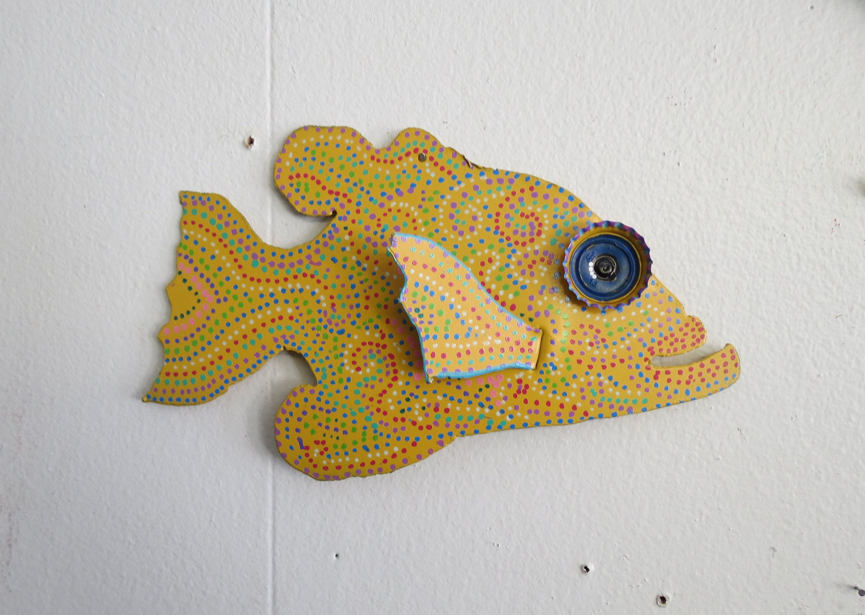 Fun Whimsy Metal Painted Fish wall or Outdoor Art Decor Beach, Fish ...
