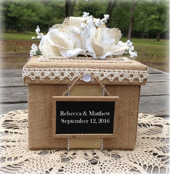 Cute Little Burlap Covered Gift Box Can Be Used As A Wedding Ring Holder Bridesmaid Suggestion For Bridal Shower Or Reception