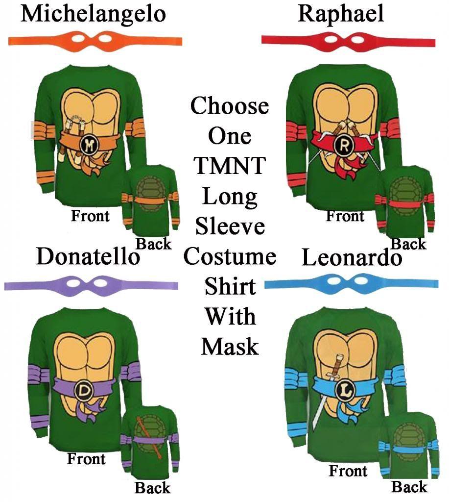 Adult TMNT Teenage Mutant Ninja Turtles Raph Leo Mike Don Costume ...