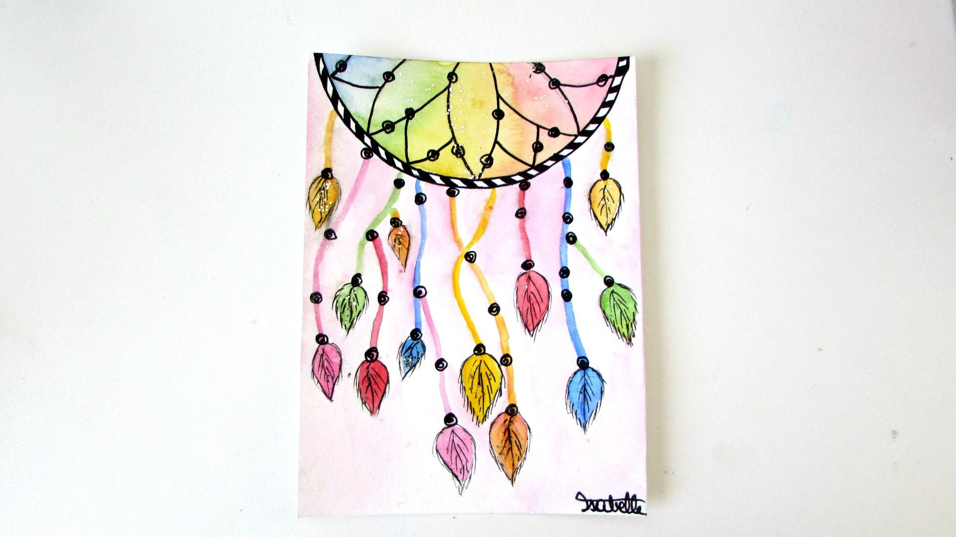 Carte Attrape Reve Multicolore Paillettes Aquarelle 10 5 X 14 2cm
