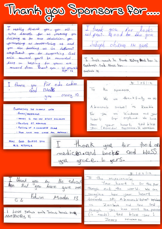Thank You Letters To Our Sponsors From The Children In Zambia