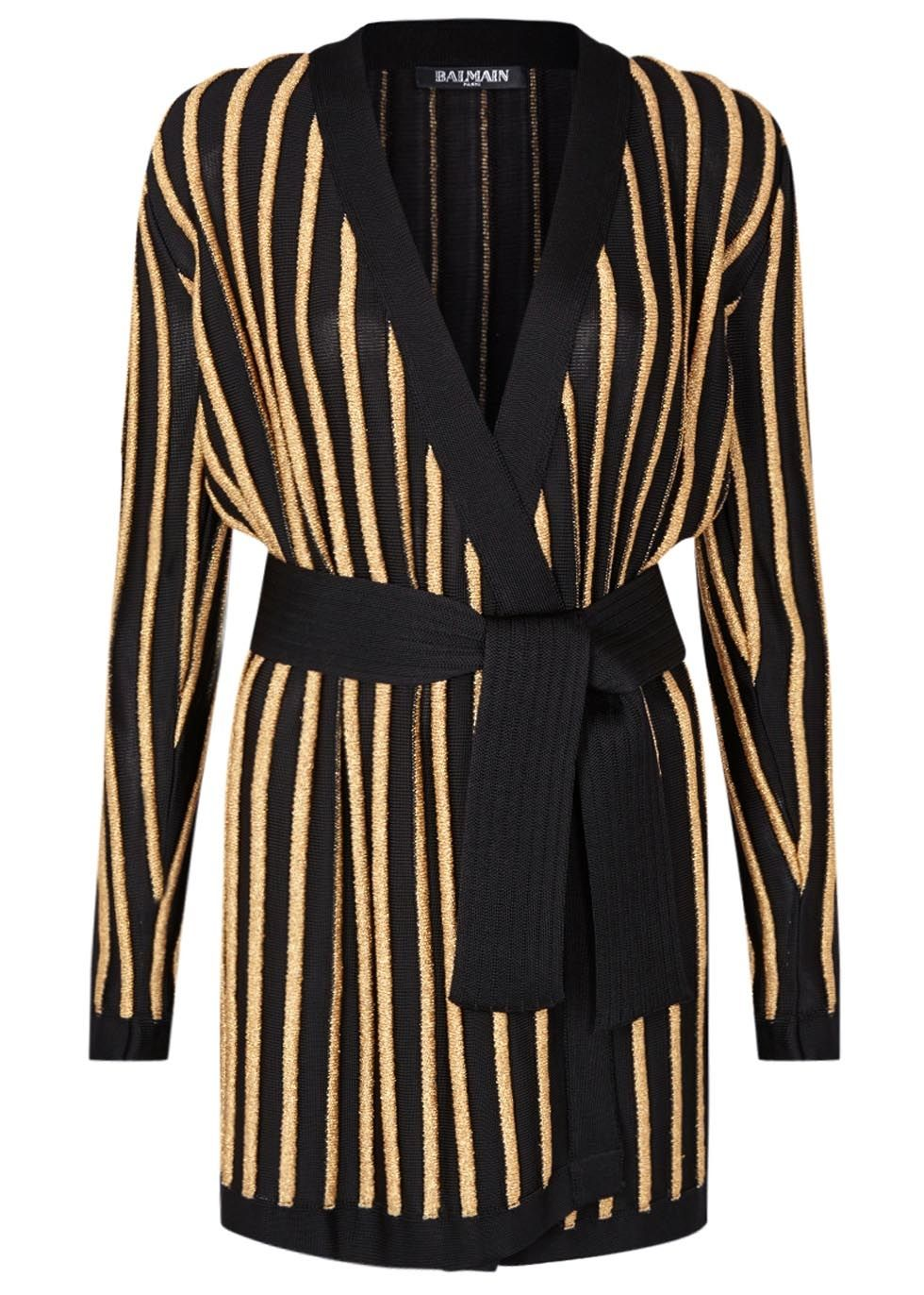 Balmain black and gold viscose blend cardigan Striped, | Simply ...