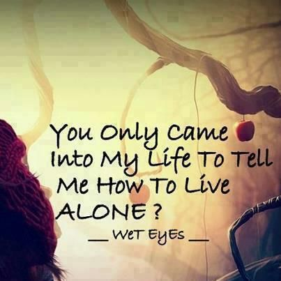 You only came into my life to tell me how to live alone