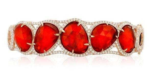 Tectonic Fire Opal Bracelet, Yael Designs