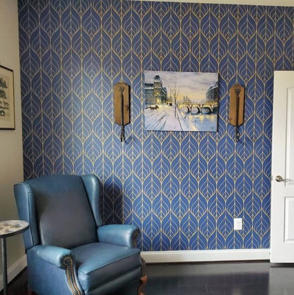 Removable Wallpaper Peel And Stick Wallpaper Leaf Wallpaper Etsy Navy Wallpaper Removable Wallpaper Leaf Wallpaper