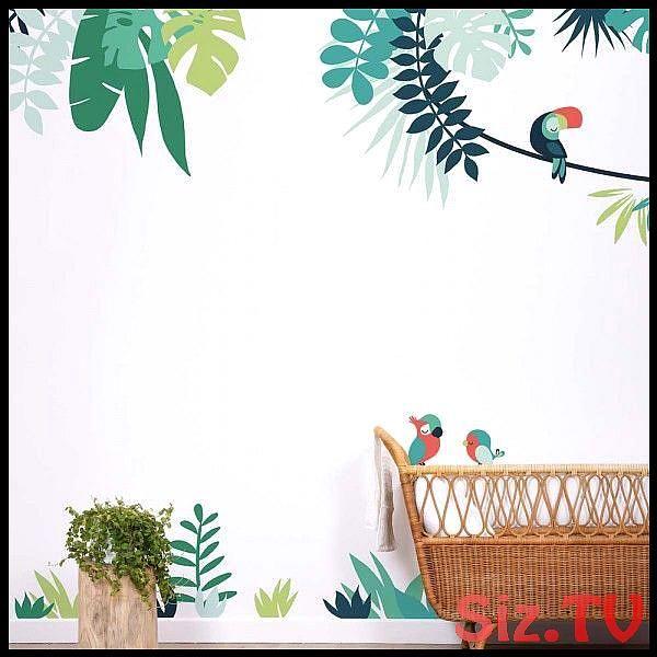 Lilipinso Wandsticker XL Dschungel mit Papagei grün rot,  Lilipinso Wandsticker XL Dschungel mit Papagei grün rot,