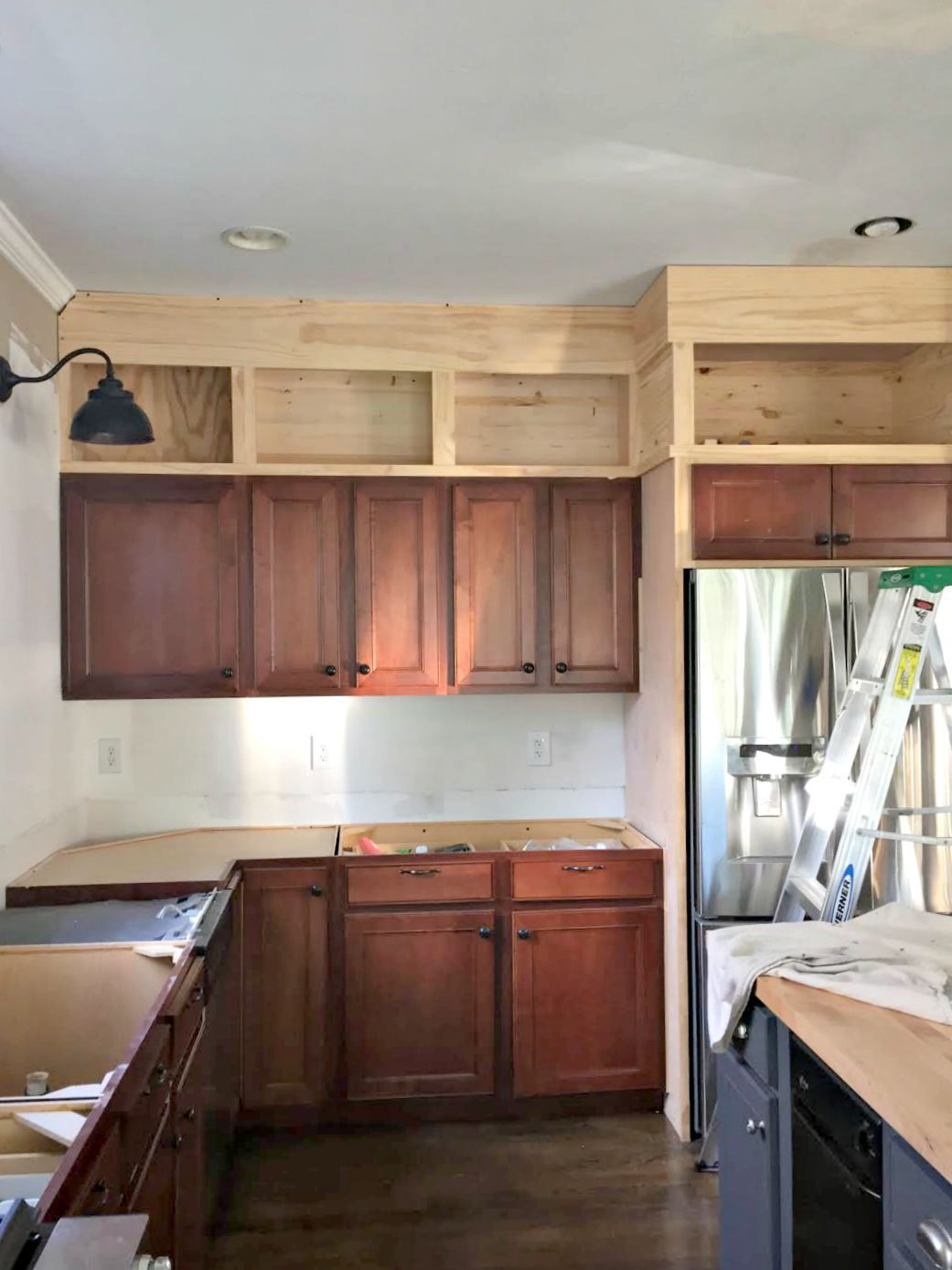 Should Kitchen Cabinets Go Up To Ceiling Building Cabinets Up To The Ceiling In 2019 House Updates