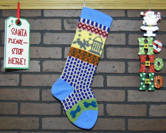Dog Christmas Stocking, Hand Knit in Blue with Grey Dog and Teal ...