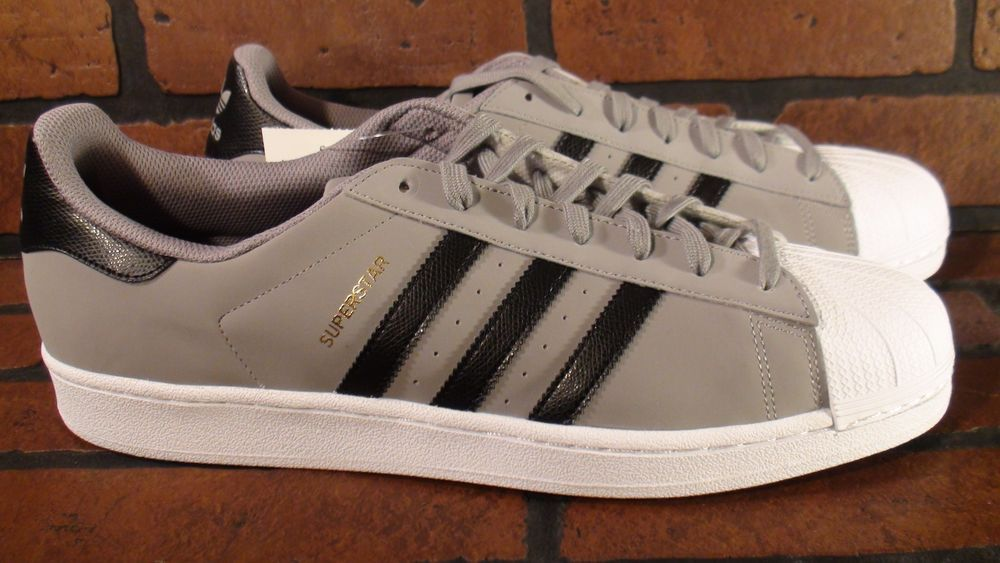ADIDAS Superstar Mens Shoe Size 14 NEW C77386 Grey Black White in Clothing,  Shoes &