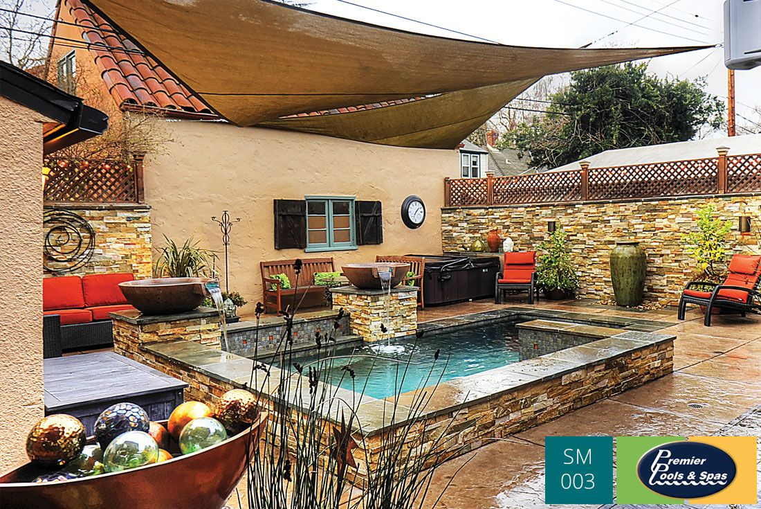 A complete backyard makeover included a modern small pool, with a  retractable cover to create a shaded escape in the warmer months. - A Complete Backyard Makeover Included A Modern Small Pool, With A