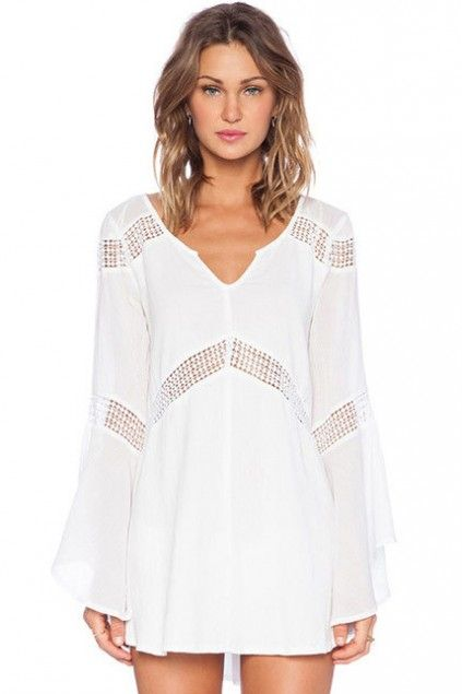 LUCLUC White Hollow-out Flow V-neck Long Sleeve Mini Dress