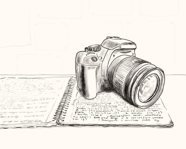 Camera illustration, drawing / Macchina fotografica