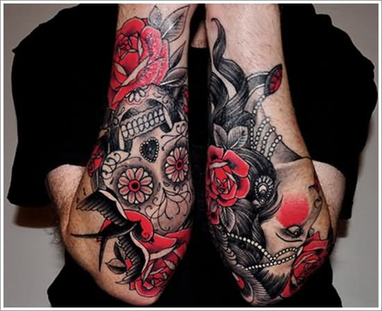 Black And Red Floral With Skull Tattoo On Both Forearm Sleeve