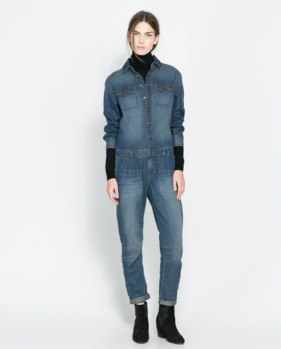 51c8779fde90 I d totally rock this... Image 1 of DENIM JUMPSUIT from Zara ...