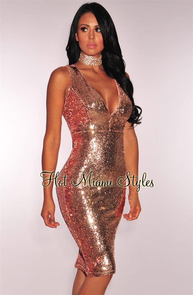 5d1ee5abb0 Rose Gold Liquid Sequins Key Hole Back Dress Birthday dress