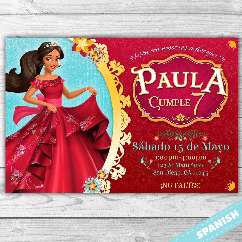 Elena de Avalor Invitacion - Princesa Disney - Personalizada Español ...