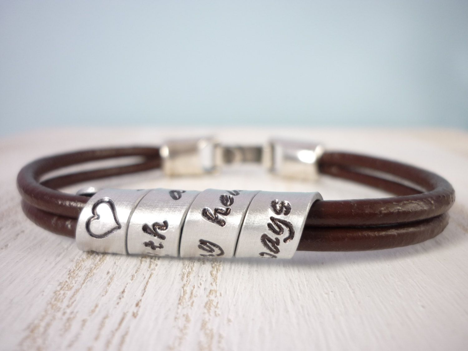 personalized secret message quote leather bracelet with metal
