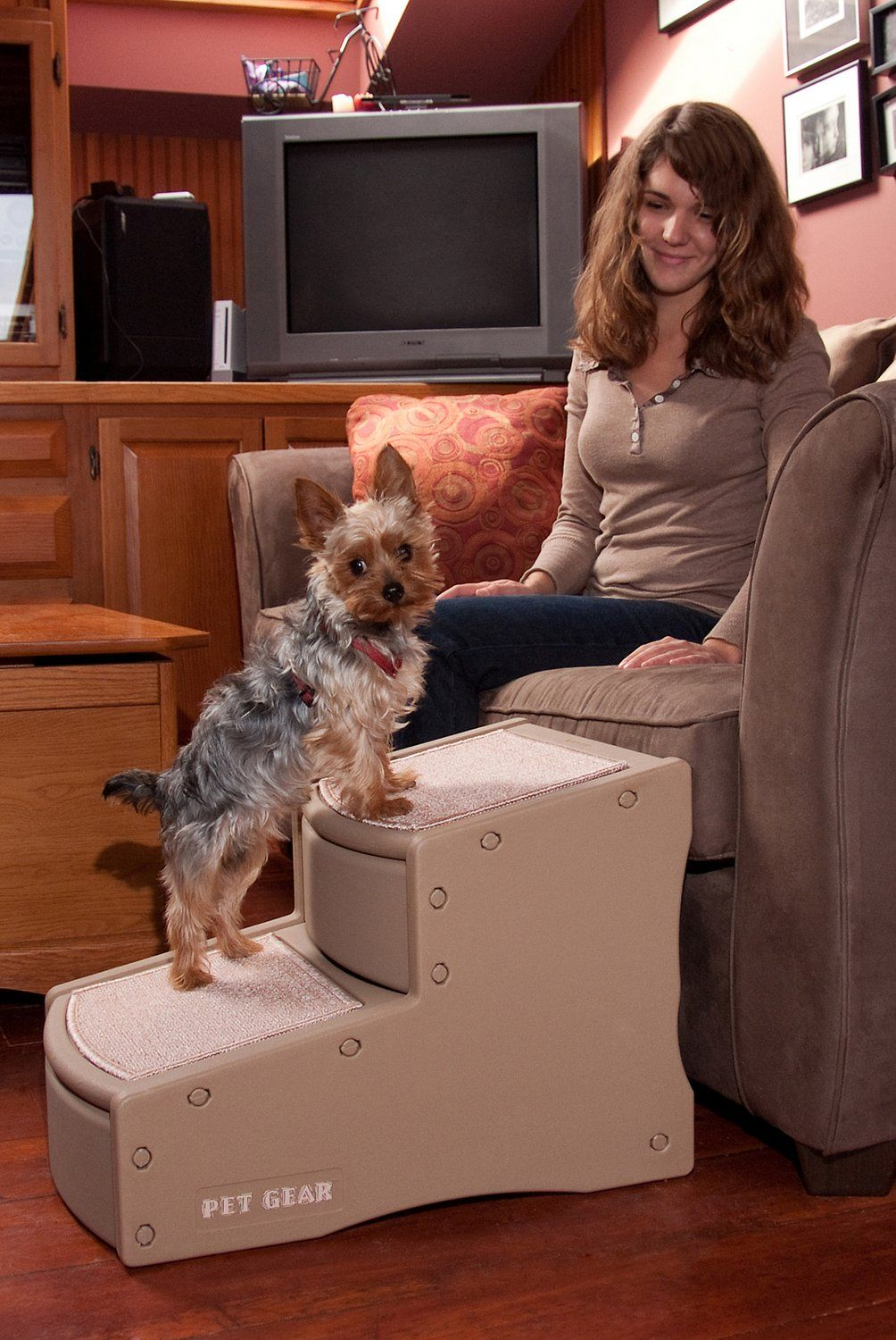 The Easy Step II Pet Stair has wide, deep steps to give