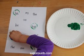 Bottle Cap Sight Word Stamps