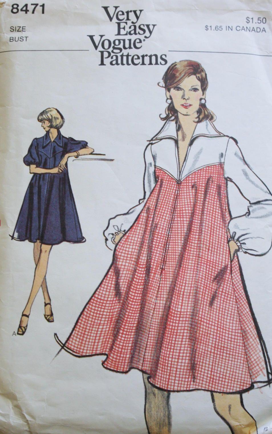Vogue 8471, 60s Tent Dress Sewing Pattern, Size 12, Vogue Dress Pattern