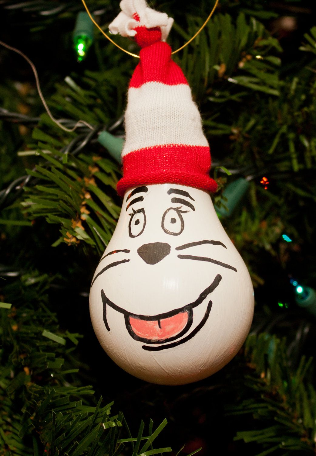 Cat In The Hat Ornament Bulb 5 00 Via Etsy Christmas Ornament Crafts Christmas Cards Handmade Christmas Crafts
