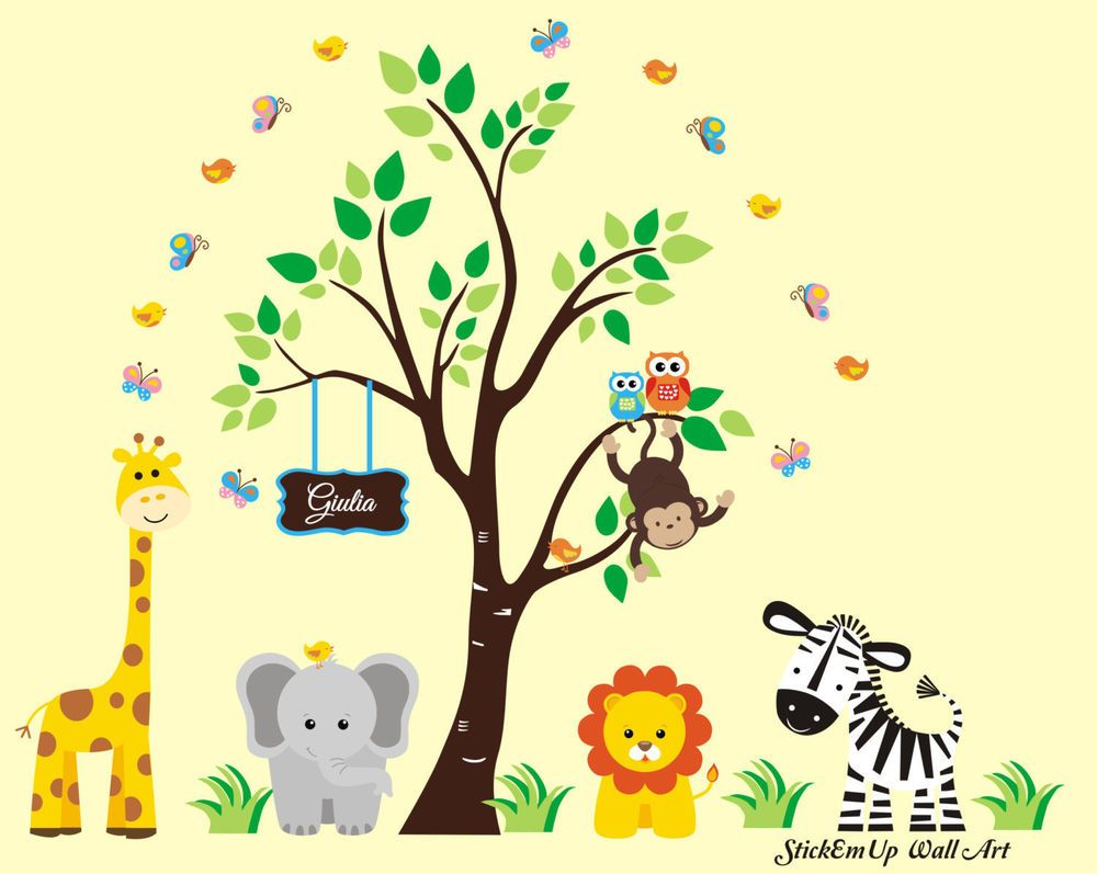 Jungle Trees Safari Animals Reusable Wall Decals-Baby Nursery ...