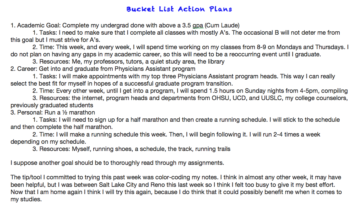 Bucket List Action Plans For  Academic  Career And  Personal