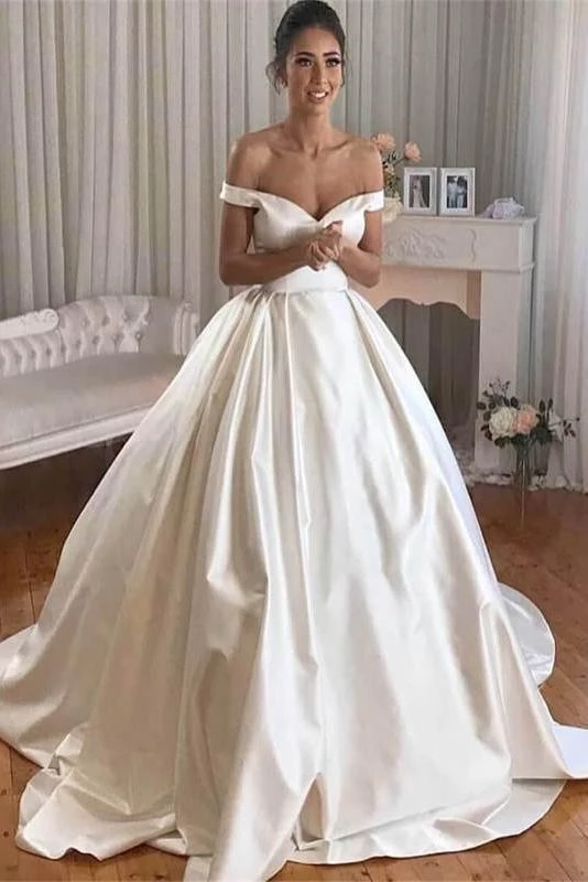 Simple Princess Ivory Ball Gown Sweetheart Satin Off the