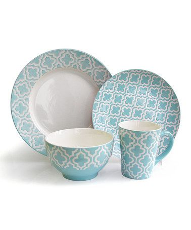 This Teal Quatrefoil 16-Piece Dining Set is perfect! ***Dinner Plate & Bowl Only*** #zulilyfinds