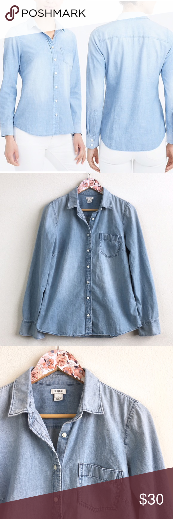 9a35ef4e J Crew Factory Chambray Shirt in Perfect Fit J Crew Factory Chambray Shirt  in Perfect Fit Size MEDIUM Excellent pre-owned condition Summer 2018 line  One ...