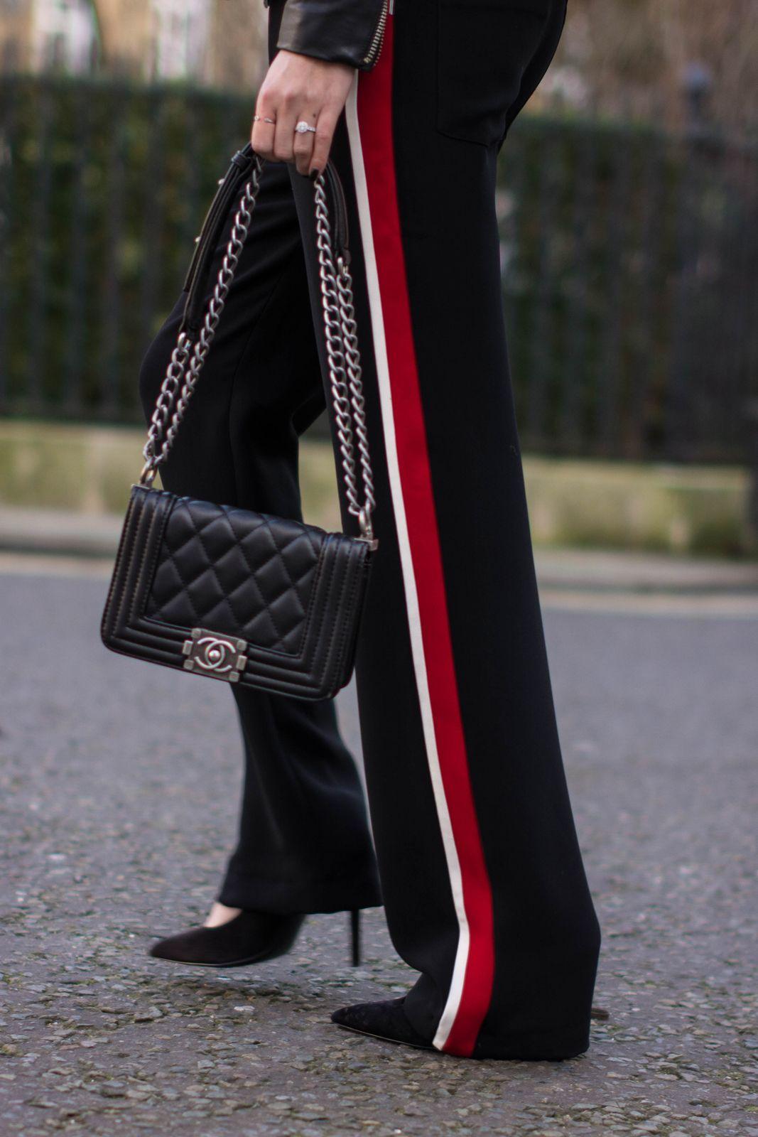 Black Chanel Boy Bag Zara Side Stripe Wide Leg Trousers