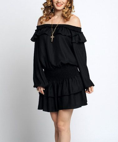 Loving this Black Ruffle Off-Shoulder Dress on #zulily! #zulilyfinds
