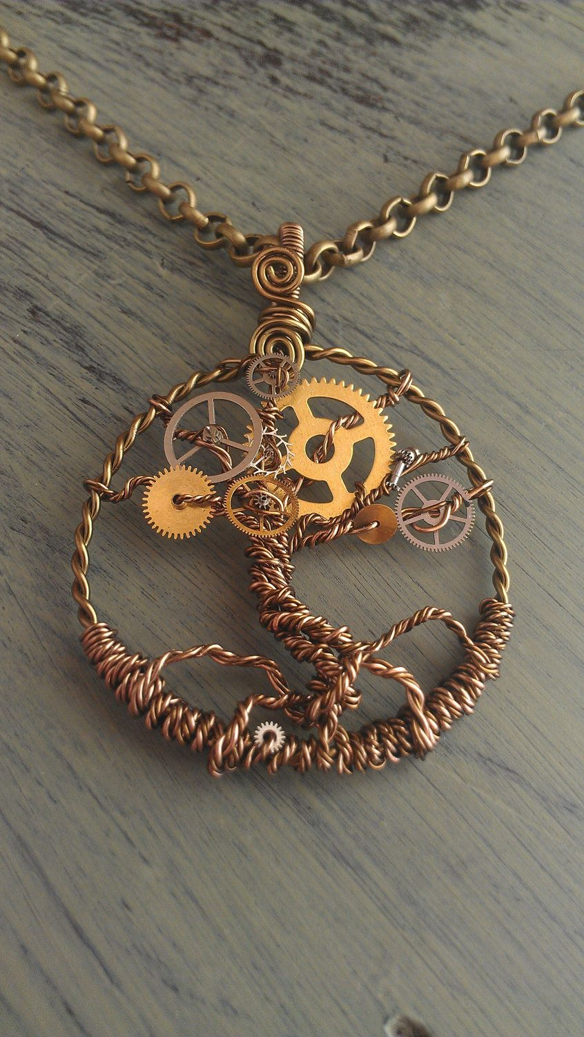 Steampunk Tree of Time Wire Wrapped Necklace with Watch Gears Tree ...