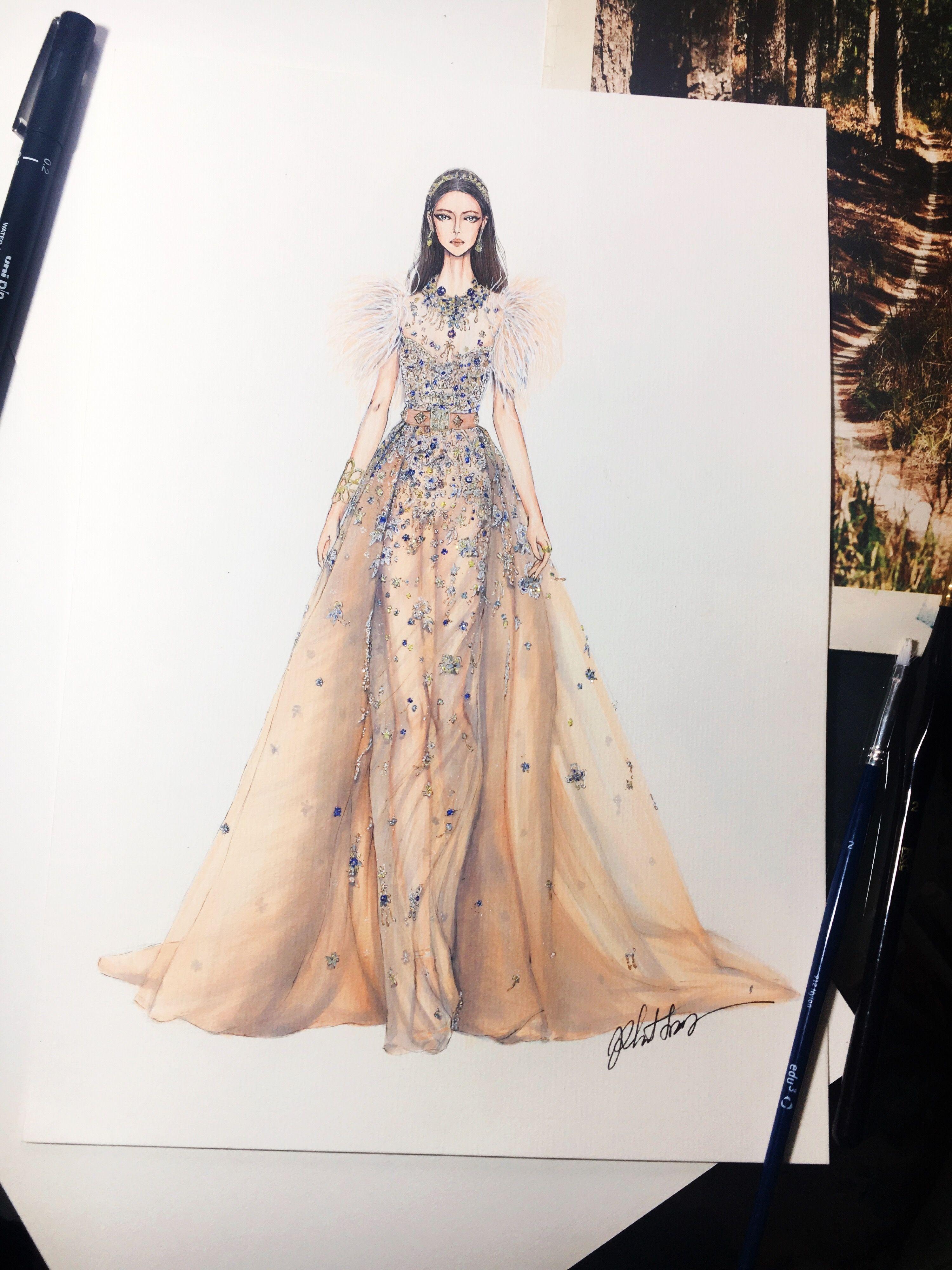 Elie Saab Sketch Sketching Draw Drawing Fashion Fashionsketch Fashiondrawing Fashion Illustration Dresses Fashion Illustration Fashion Design Sketches