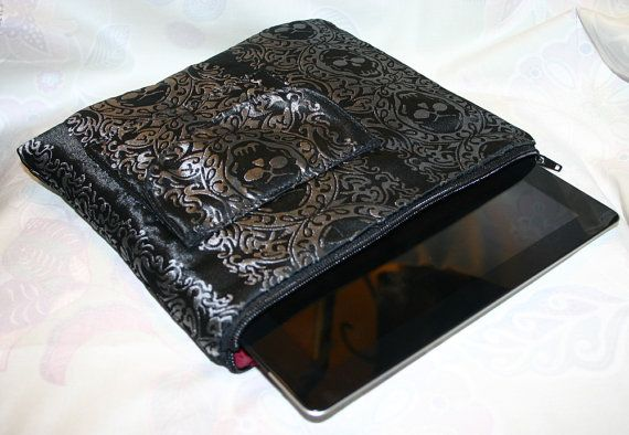Ye Olde iPad Pouch Black and Silver Pirate Jolly by dashandbag