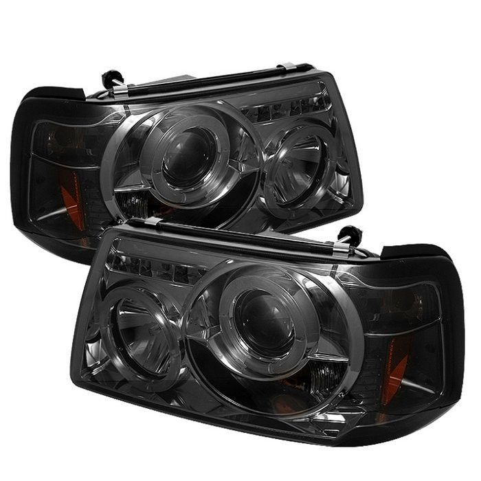 Spyder Ford Ranger 01 11 1pc Projector Headlights Led Halo Led Replaceable Leds Smoke H Ford Ranger 2008 Ford Ranger 2002 Ford Ranger