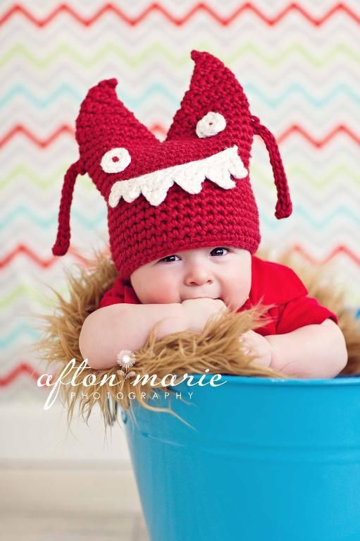 Halloween Monster Baby Square Hat pattern on Craftsy.com