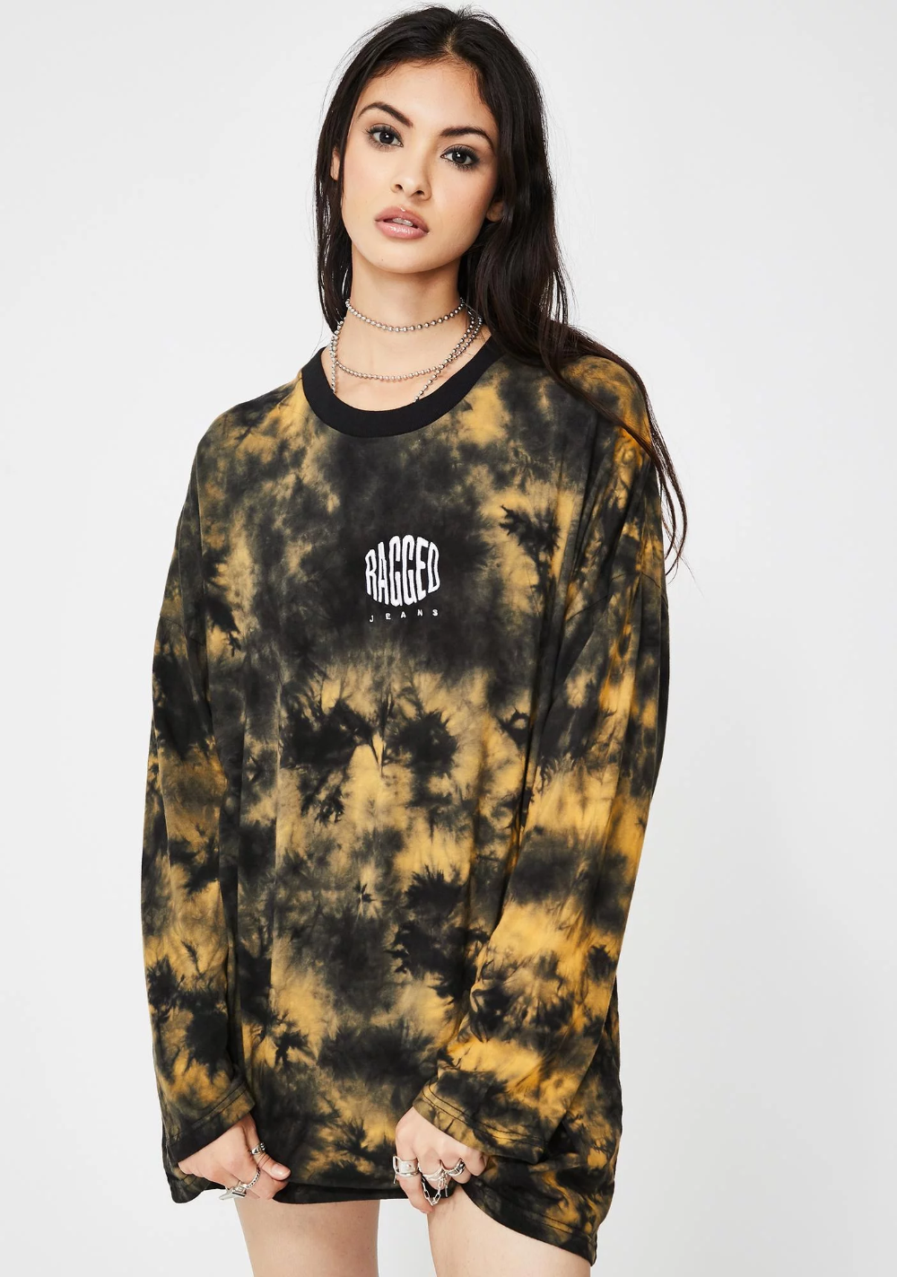 Mens Long Sleeve Crew Neck T-shirt Tie Dye Printed Winter Base Layers Tops Tee