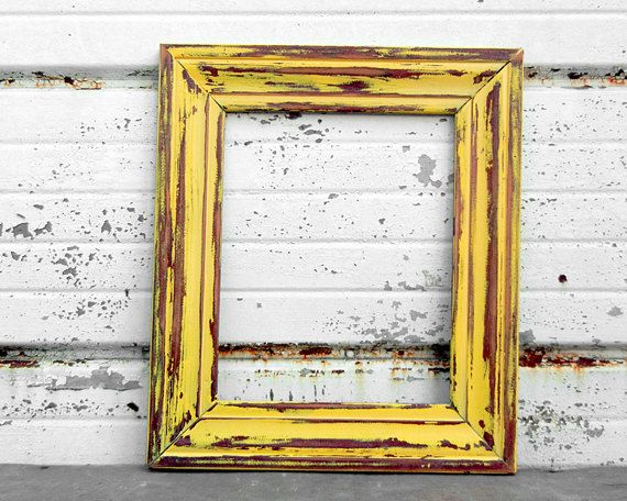 8 x 10 yellow frame solid wood rustic shabby chic distressed country kitchen painted frame sunflower sunny sunshine mustard lemon yellow