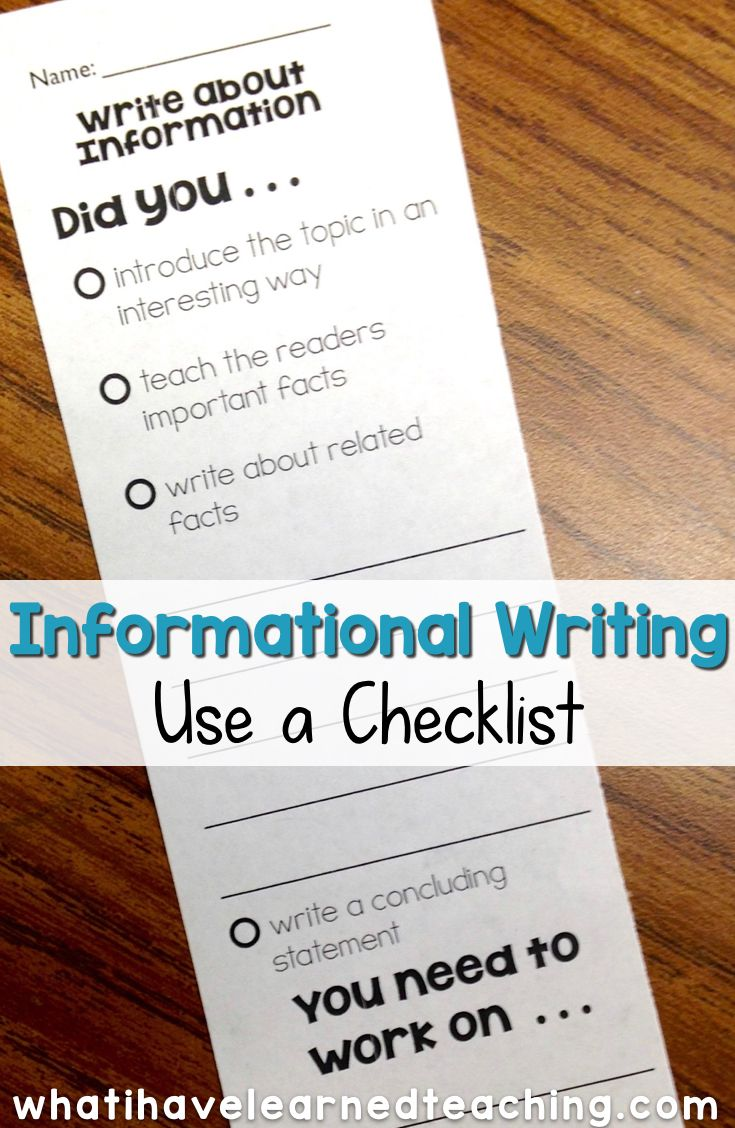 Teach Students To Use A Checklist  Informational Writing Week
