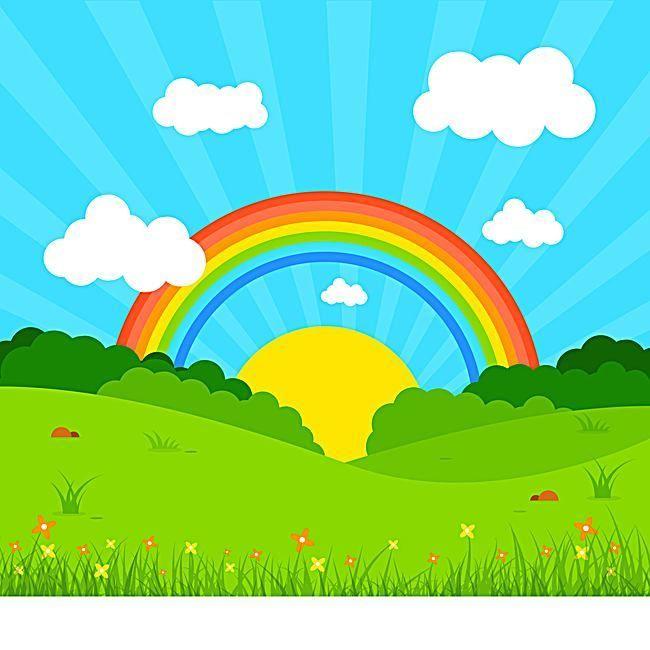 Cielo azul de fondo Rainbow Poster, Cielo Azul, Baiyun, Meadow ...