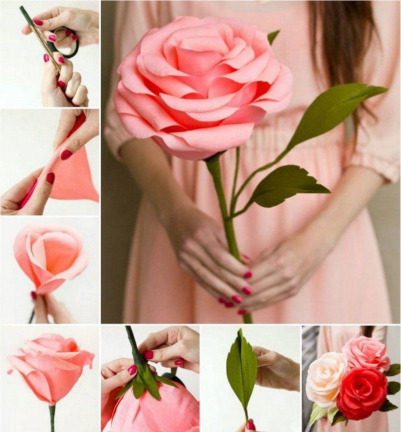 Grosse Rose Aus Papier Basteln Origami Kunst Diy Papier Karton